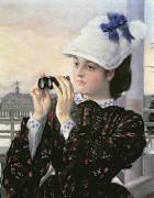 Binoculars Framed Prints - The Captains Daughter Framed Print by Tissot