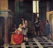 Servant Prints - The Card Players Print by  Pieter de Hooch