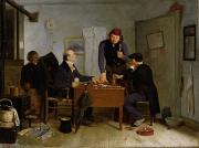 Clock Paintings - The Card Players by  Richard Caton Woodville