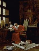 Writing His History Prints - The Cardinals Leisure  Print by Charles Edouard Delort