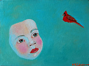 Singing Painting Originals - The Cardinals Song by Ana Maria Edulescu