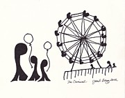 Wheel Drawings - The Carnival by Janel Bragg