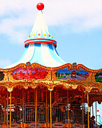 San Francisco Landmarks Digital Art Metal Prints - The Carousel At Pier 39 San Francisco California . 7D14342 Metal Print by Wingsdomain Art and Photography