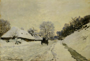 Snowy Scene Paintings - The Cart by Claude Monet