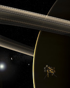Rendition Posters - The Cassini Spacecraft In Orbit Poster by Steven Hobbs