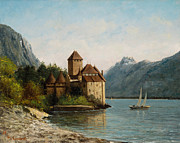 Alps Posters - The Castle of Chillon Evening Poster by Gustave Courbet