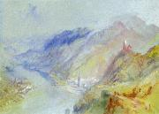 Gouache Paintings - The Castle of Trausnitz overlooking Landshut by Joseph Mallord William Turner