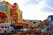 Eureka Valley Posters - The Castro in San Francisco Electrified Poster by Wingsdomain Art and Photography