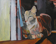 Animals Framed Prints Paintings - The Cat by Alicja Coe