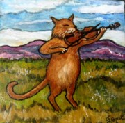 Nursery Rhyme Painting Prints - The Cat and the Fiddle Print by Frances Gillotti