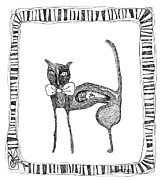 Mouse Drawings - The Cat and The Mouse by Zelde Grimm