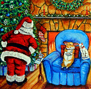 Santa Claus Paintings - The Cat Ate Them Pembroke Welsh Corgi by Lyn Cook