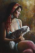 Female Painting Originals - The Cat by Harvie Brown