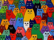 Anni Morris Art - THe Cat Pack  by Anni Morris