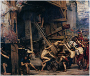 Knights Paintings - The Catapult by Edward Poynter