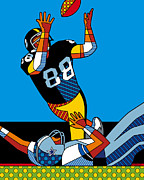 Steelers Digital Art Posters - The Catch Poster by Ron Magnes