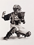 Baseball Drawings - The Catcher by Jim Ziemer