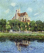 Trees Reflecting In Water Metal Prints - The Cathedral at Auxerre Metal Print by Gustave Loiseau