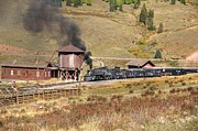 Steam Train Prints Art - The Cattle Train Nears by Ken Smith