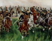19th Century Metal Prints - The Cavalry Metal Print by WT Trego