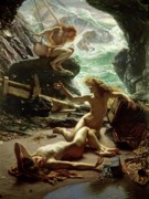 Female Nude Framed Prints - The Cave of the Storm Nymphs Framed Print by Sir Edward John Poynter