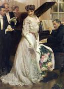Girl Playing Piano Paintings - The Celebrated by Joseph Marius Avy