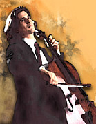 Impressionism Digital Art Prints - The Cellist Print by Debora Cardaci