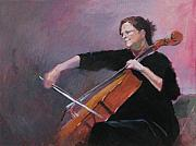 Musicians Painting Originals - The Cellist by Robert Bissett