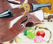 Grape Drawings Metal Prints - The Cello Metal Print by Kayla Nicole