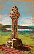 Religious Pastels Framed Prints - The Celtic cross Framed Print by Alan Hogan