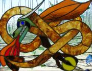 Panel Glass Art Originals - The Celtic Dragon by Kelvin Mays
