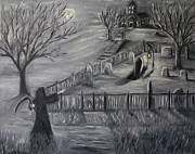 Halloween Scene Paintings - The Cemetary by Daniel W Green