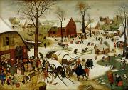 Office Painting Framed Prints - The Census at Bethlehem Framed Print by Pieter the Younger Brueghel