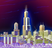 Willis Tower Digital Art - The Center of Attention 2 by Donald Schwartz