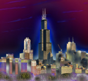 Sears Tower Digital Art Metal Prints - The Center of Attention 3 Metal Print by Donald Schwartz