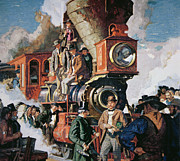 Old West Painting Prints - The Ceremony of the Golden Spike on 10th May Print by Dean Cornwall
