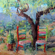 Bright Colors Pastels Metal Prints - The Chairs  Metal Print by Julia Patterson