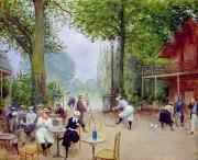Biking Prints - The Chalet du Cycle in the Bois de Boulogne Print by Jean Beraud