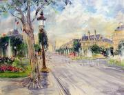 Paris Pastels Posters - The Champs Elysee Paris Poster by Kamil Kubik