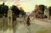 Carriage Horses Paintings - The Champs Elysees - Paris by Georges Stein