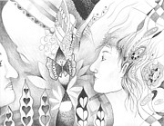 Feminine Drawings Originals - The Change and the Changing by Helena Tiainen
