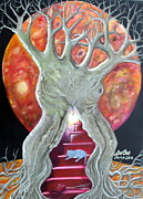 Tree Roots Paintings - The Changing Goddess Under the Wiccan Moon. by Trac Davies