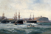 Harbor Paintings - The Channel Fleet off Scarborough by William Lionel Wyllie