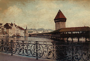 Lucerne Photo Posters - The Chapel Bridge in Lucerne Switzerland Poster by Susanne Van Hulst