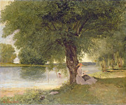Region Paintings - The Charente at Port-Bertaud by Gustave Courbet