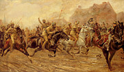 Wwi Painting Metal Prints - The charge of the Bengal Lancers at Neuve Chapelle Metal Print by Derville Rowlandson