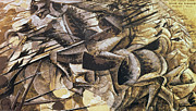 Umberto Boccioni Posters - The Charge of the Lancers Poster by Umberto Boccioni