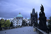 Prague Towers Photos - The Charles Bridge Early In The Morning by Taylor S. Kennedy