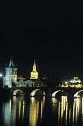 Prague Towers Prints - The Charles Bridge Lit Up On A Soft Print by Taylor S. Kennedy