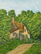 Country Dirt Roads Painting Prints - The Charm Of Wiltshire Print by Charlotte Blanchard